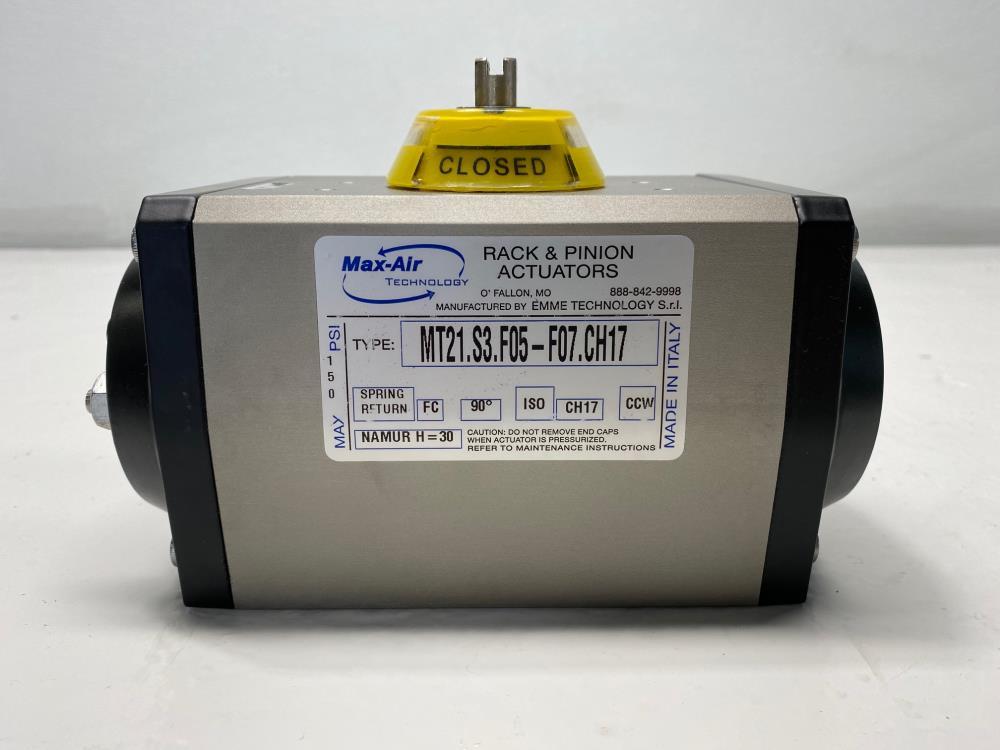 Max-Air Rack & Pinion Spring Return Actuator, Fail Close, MT21.S3.F05-F07.CH17