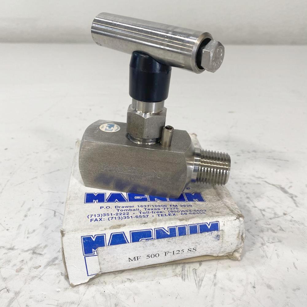 "Magnum 1/2"" NPT Stainless Steel Needle Valve 10000 PSI, MF 500F125 SS"