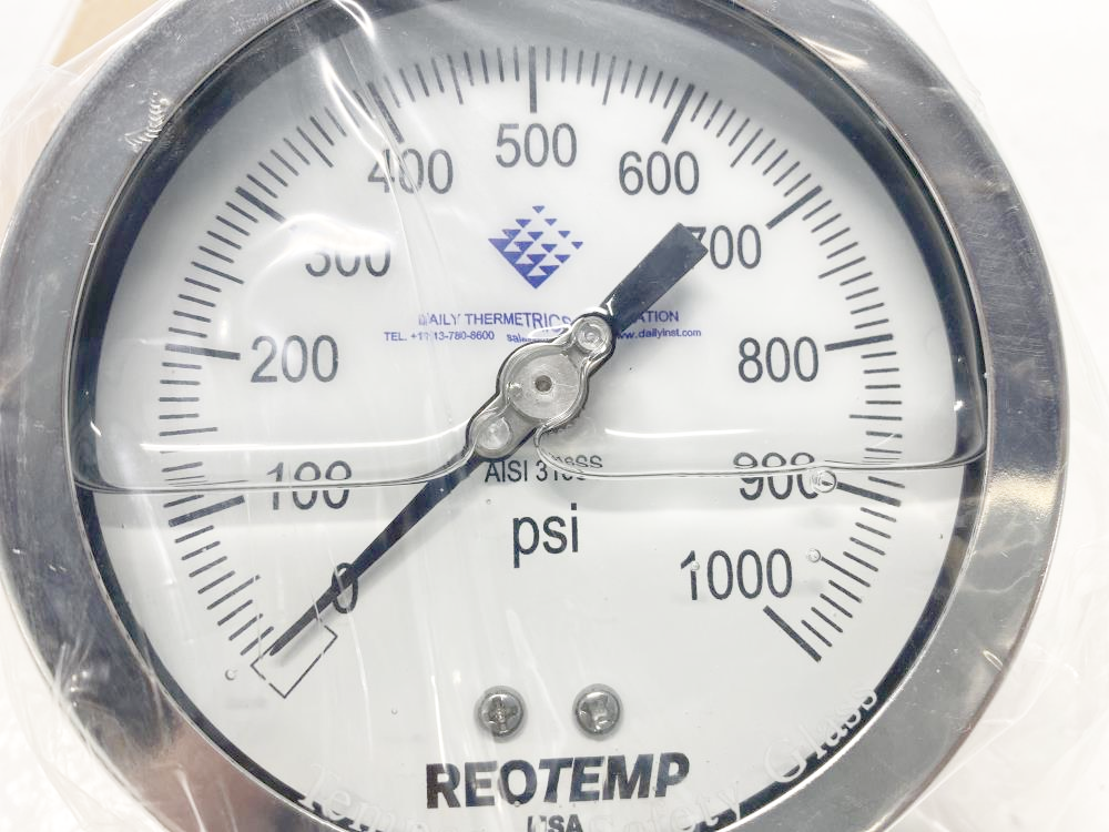 """ReoTemp 4"""" Filled Pressure Gauge 0-1000 PSI Stainless, PR40S1A2P25-DTC-G-T"""