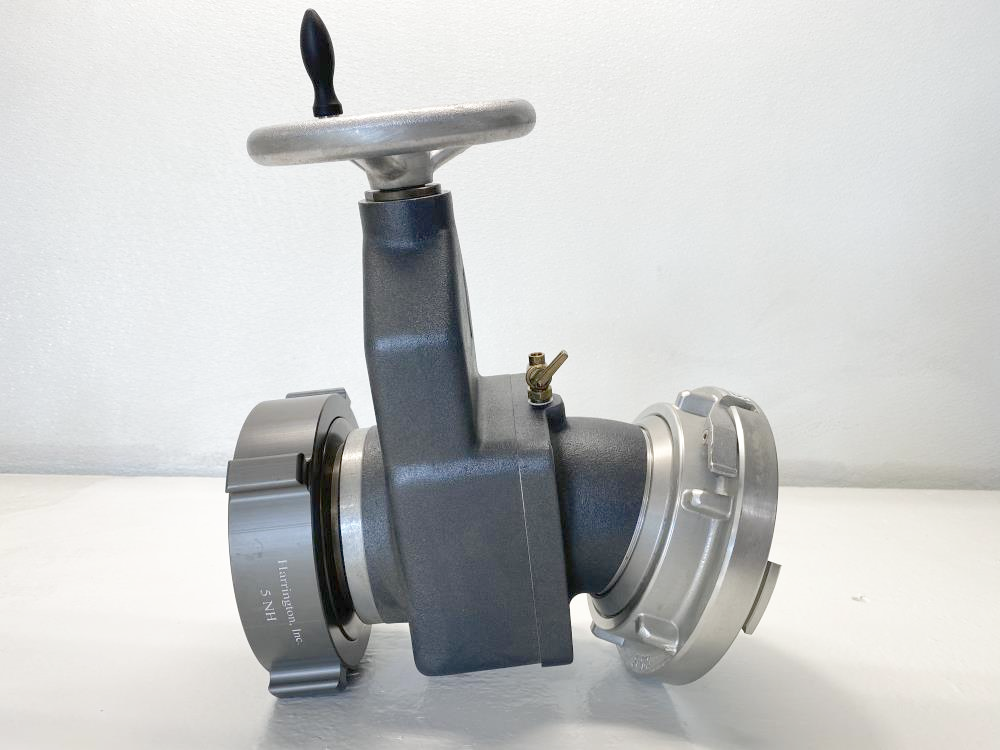 "Harrington 4"" Gate Valve 25 Deg Elbow, 5"" NH Swivel x 5"" Storz-Lok H811-50-50NH"