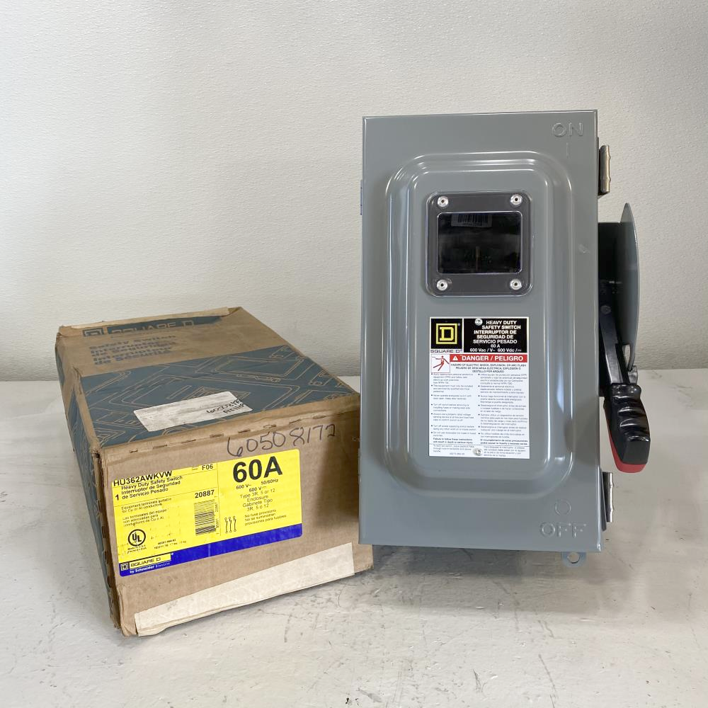 Square D Heavy Duty Safety Switch, Non-Fusible 60A 3-Pole, 600V HU362AWKVW