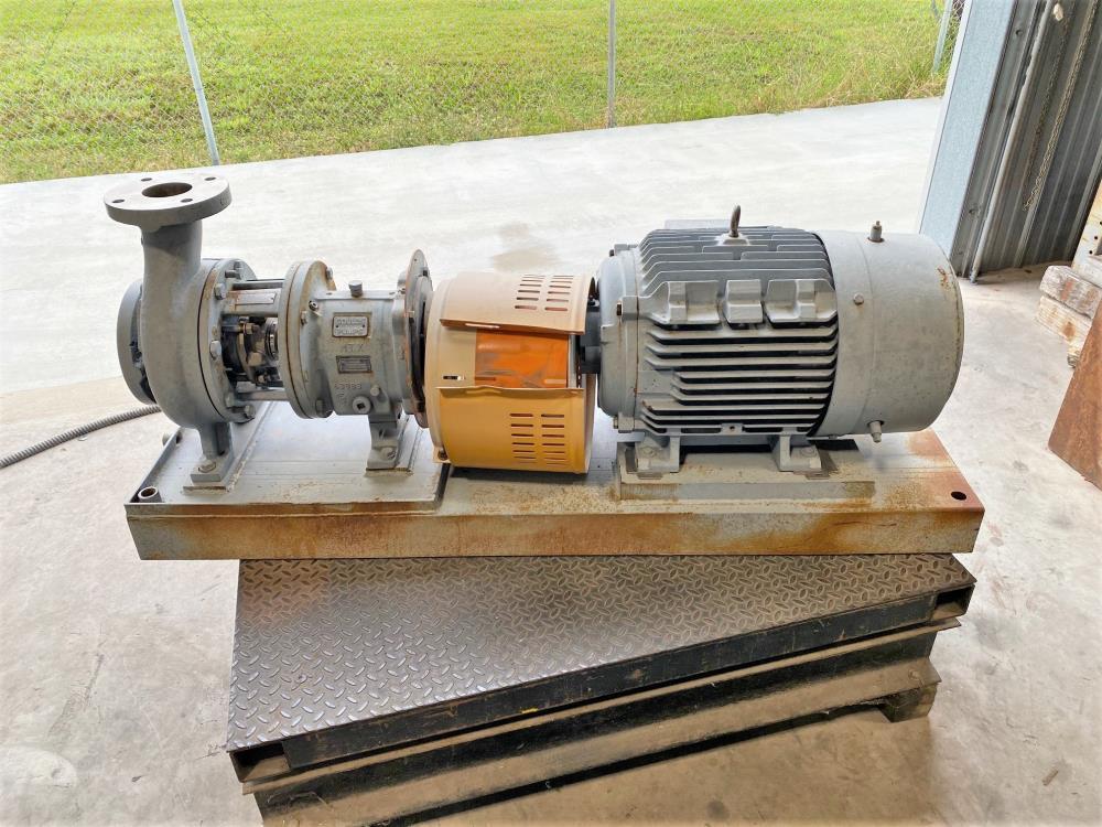 """Goulds 3196 MTX Centrifugal Pump, 3""""x4""""-7"""", 316 SS w/ 30 HP Motor"""