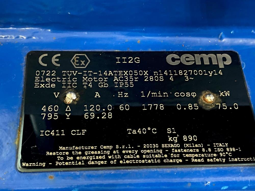 CEMP AC35r 208S Flame-Proof Electric Motor 75kW, 460V, 1778 RPM, 3-Phase, 4-Pole