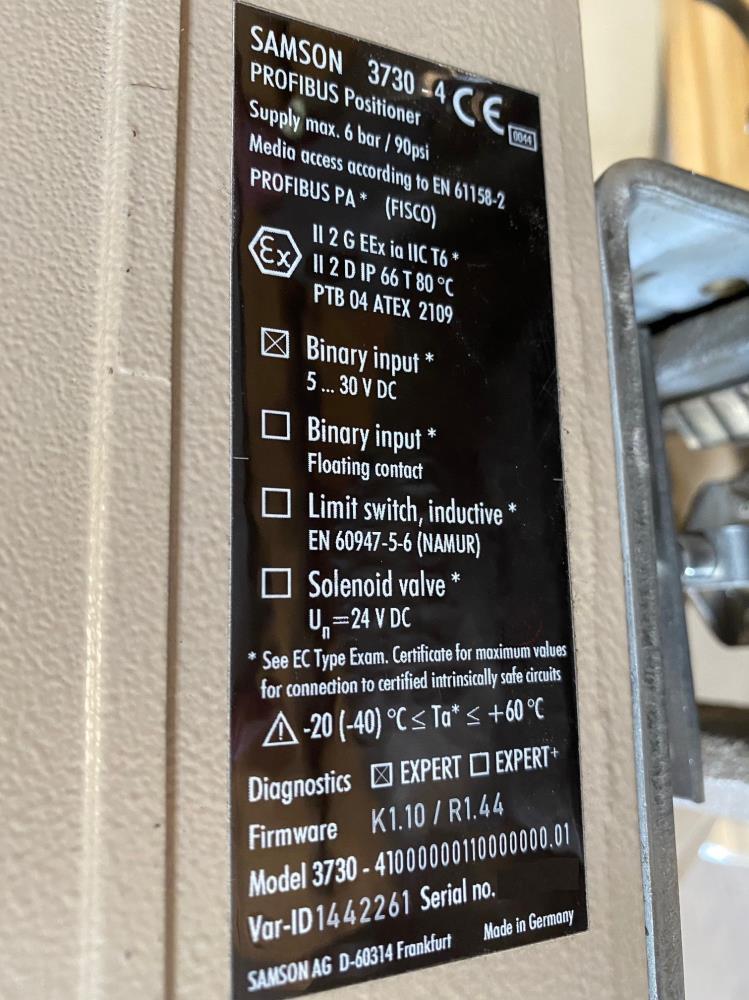 """Samson 1-1/2"""" 150# CF8 Actuated Control Valve 241-1 & 3730-4 Profibus Positioner"""