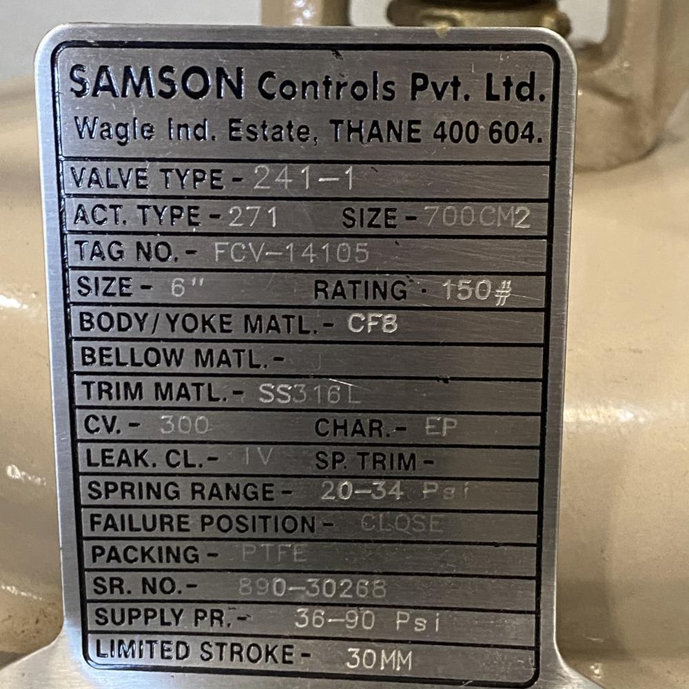 "Samson 6"" 150# CF8 Actuated Globe Control Valve 241-1 w/ 3730-4 Positioner"