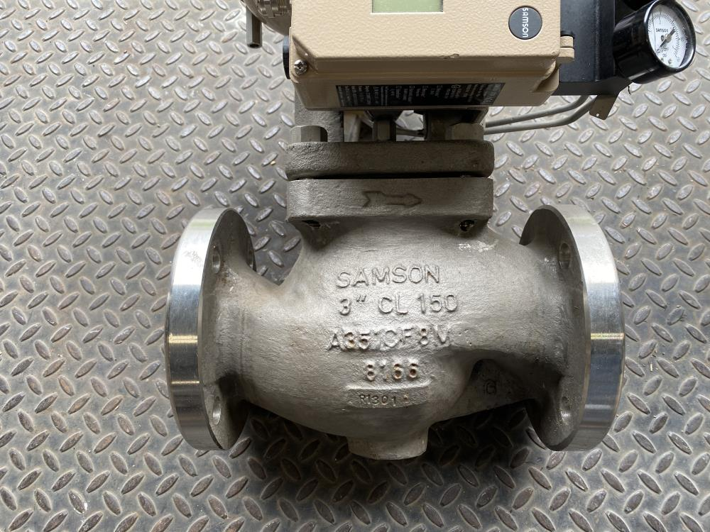 """Samson 3"""" 150# CF8M Actuated Globe Control Valve 241-1 & 3730-4 Positioner"""