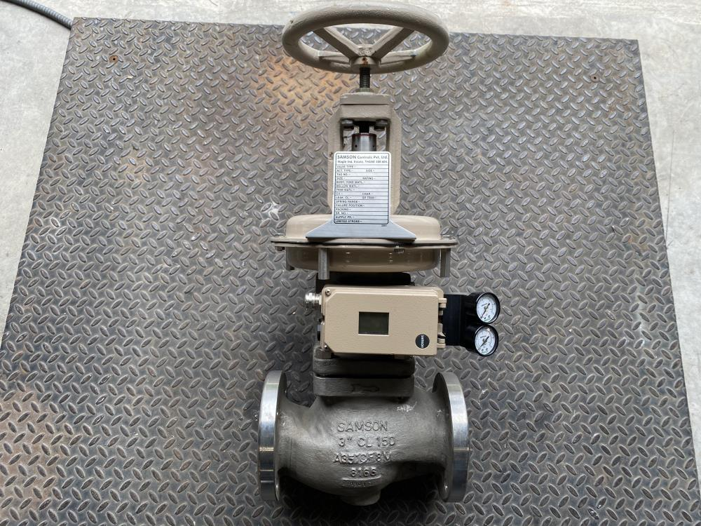 """Samson 3"""" 150# CF8M Actuated Globe Control Valve 241-1 w/ 3730-4 Positioner"""