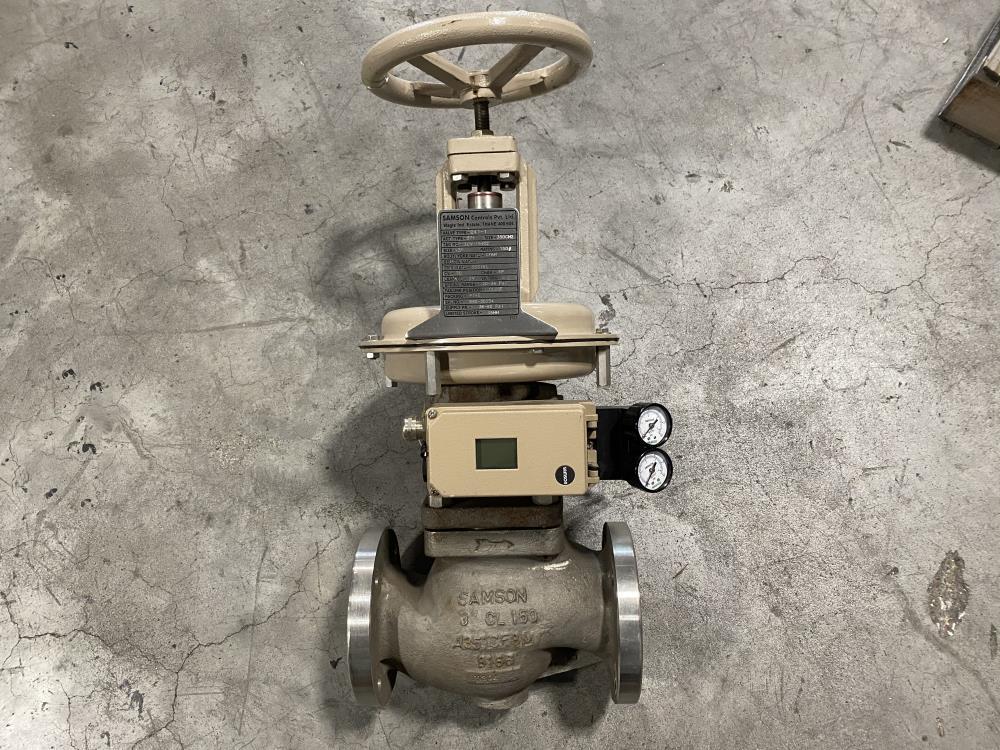 """Samson 3"""" 150# CF8M Actuated Globe Valve 241-1 w/ 3730-4 Positioner"""
