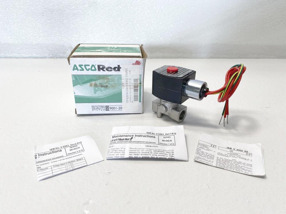 "Asco Red Hat 3/8"" NPT 2-Way Solenoid Valve EF8263H330, EF8016H1"