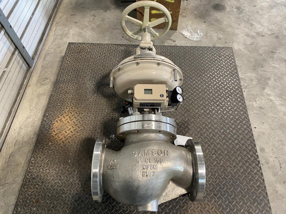 """Samson 6"""" 150# CF8M Actuated Globe Control Valve 241-1 w/ 3730-4 Positioner"""