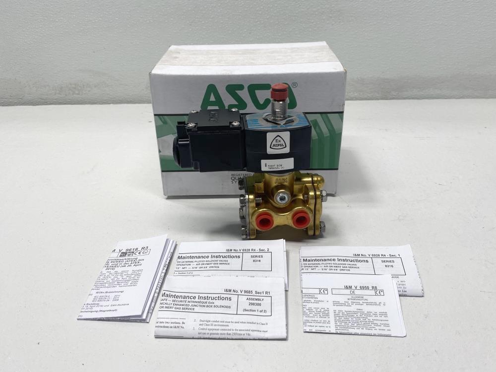 "ASCO 1/4"" NPT 3-Way Brass Solenoid Valve JPIS8003B304, JPIS8316B301"