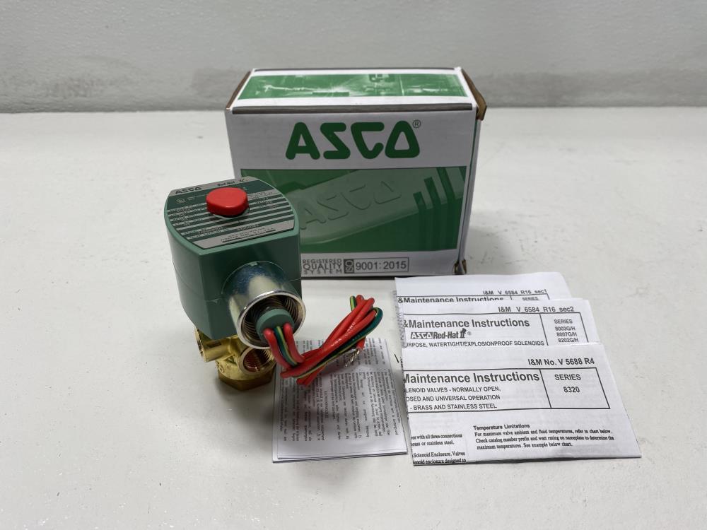 "Asco 1/4"" NPT 3-Way 24 DC Brass Solenoid Valve 8320G184"