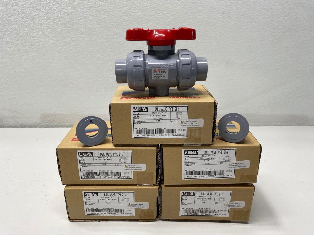 "Lot of (5) Asahi 3/4"" Socket x Threaded CPVC FKM Ball Valves, Type 21a"