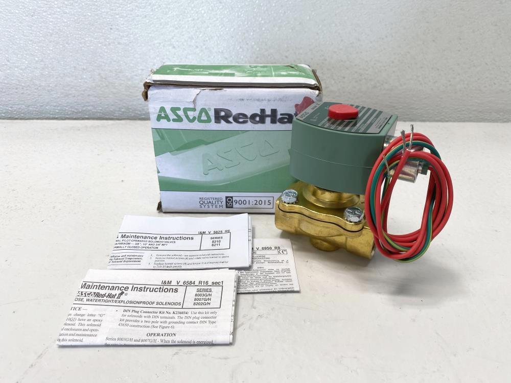 """ASCO Red-Hat 3/4"""" NPT 2-Way Brass Solenoid Valve 8210G095"""