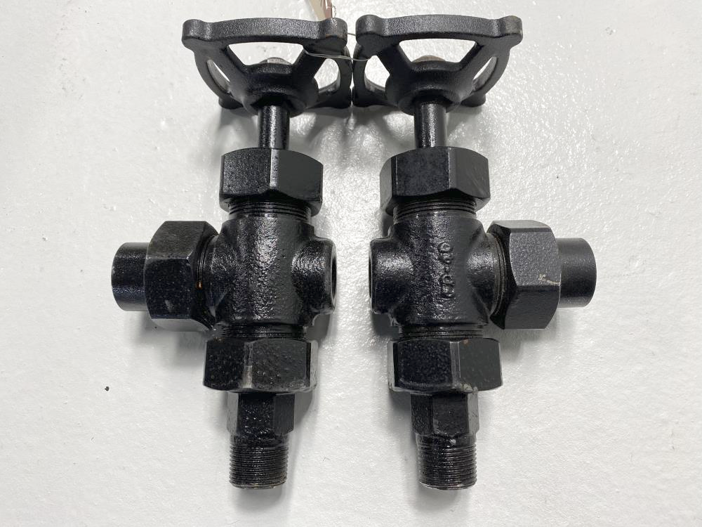 "Pair of Jerguson 144 In-Line Ballcheck Valves 3/4"" MNPT x 3/4"" FNPT Carbon Steel"
