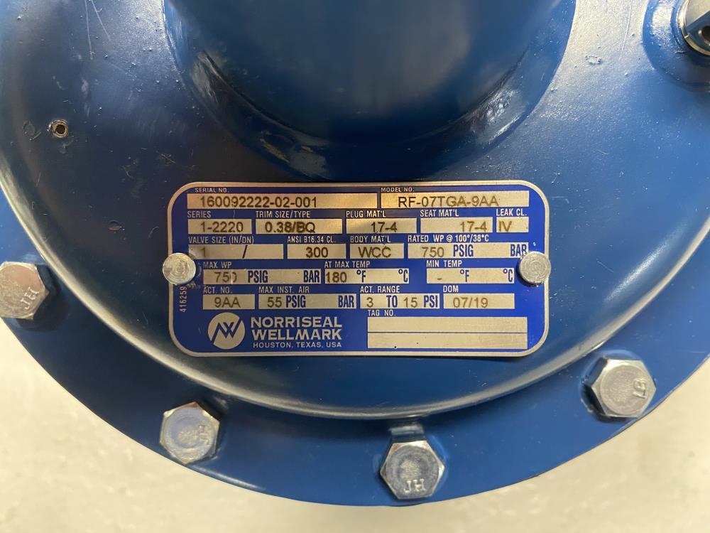 "Norriseal 1"" 300# Flanged WCC Control Valve, Series 2221, RF-07TGA-9AA"