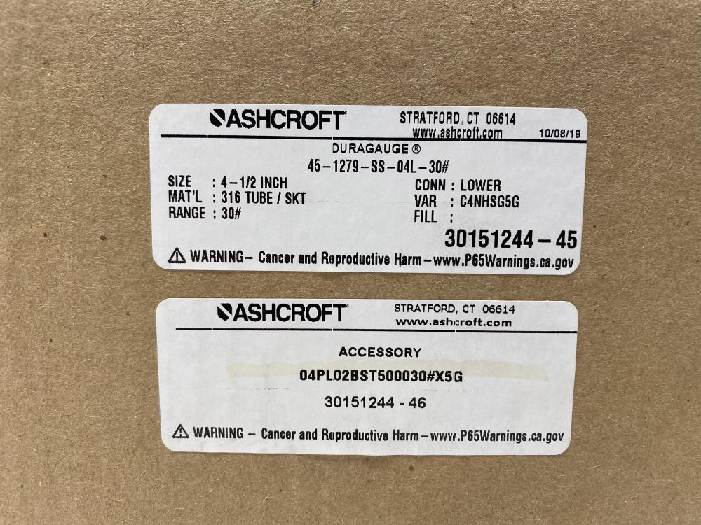 "Ashcroft 4.5"" Duragauge 0-30 PSI 45-1279-SS-04L-30# w/ Valve 04PL02BST500030#X5G"