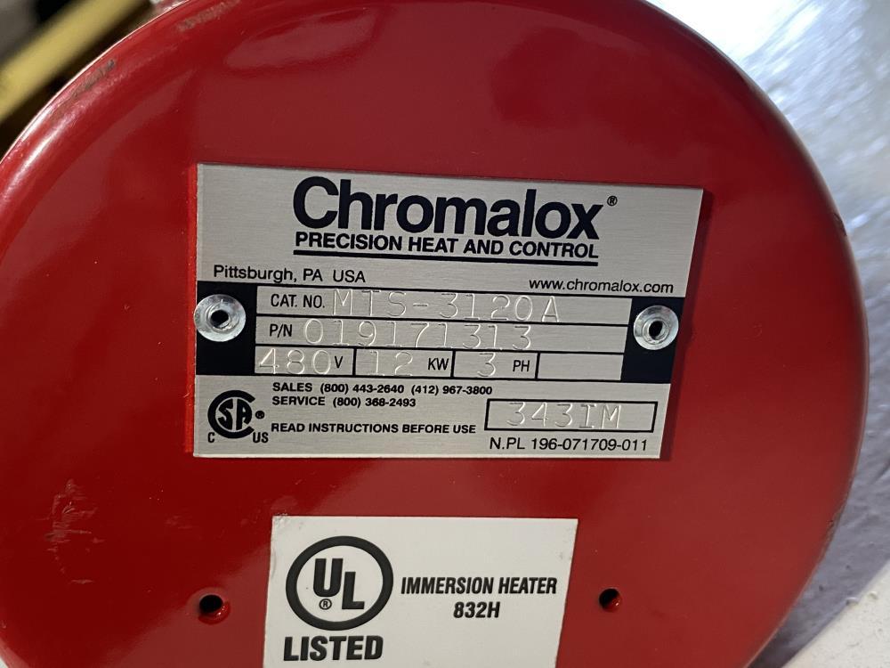 Chromalox MTS-3120A Immersion Heater 12KW, 480V, 3PH, 019171313