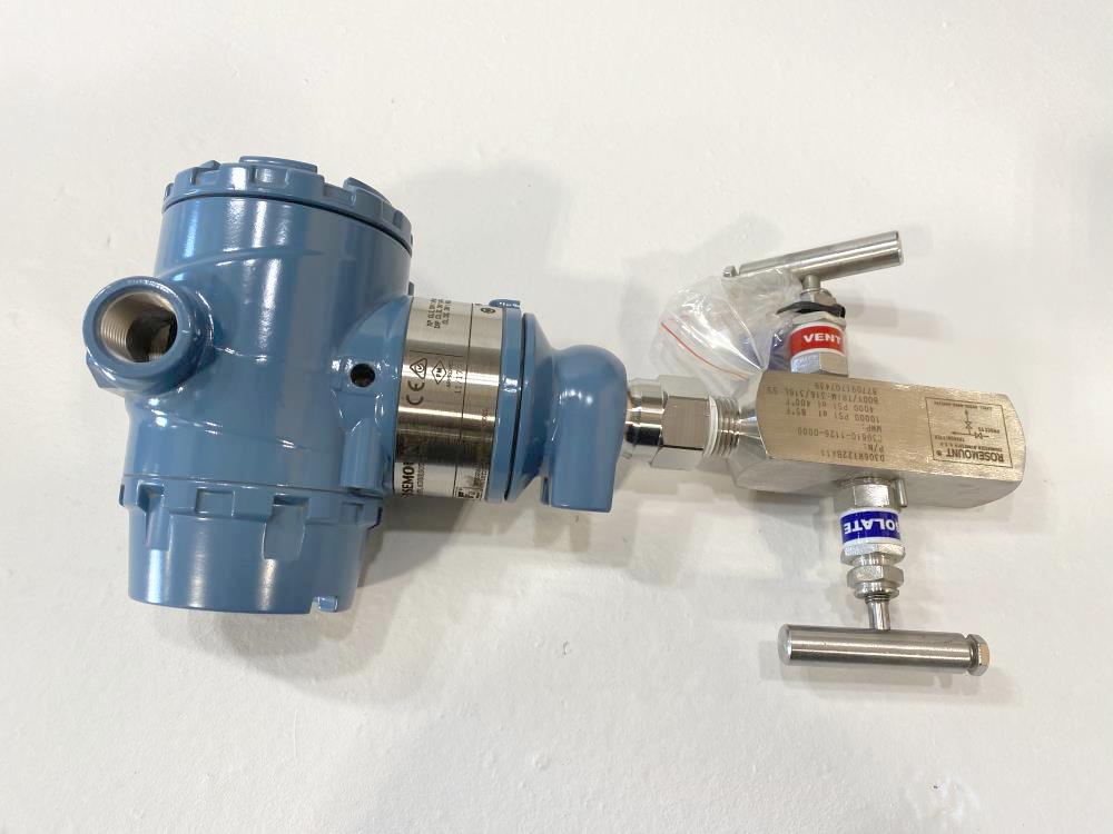 Rosemount 3051 Pressure Transmitter 0-150 PSI w/ Manifold 3051TG2A2B21AS5B4E5M5