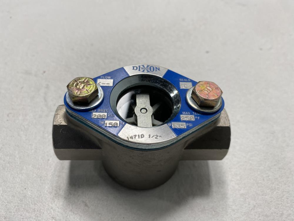 "Dixon Boss 1/2"" NPT Stainless Steel Sight Flow Indicator w/ Propeller SF1471-050"