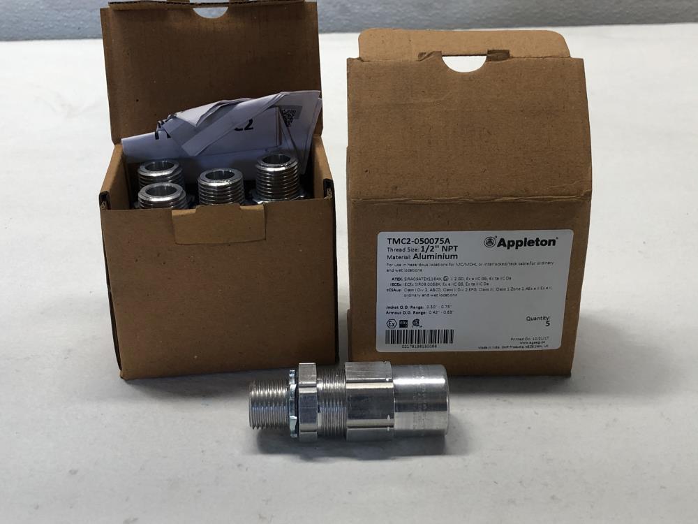 "Lot of (2) Boxes Appleton 1/2"" NPT Aluminum Cable Gland TMC2-050075A"