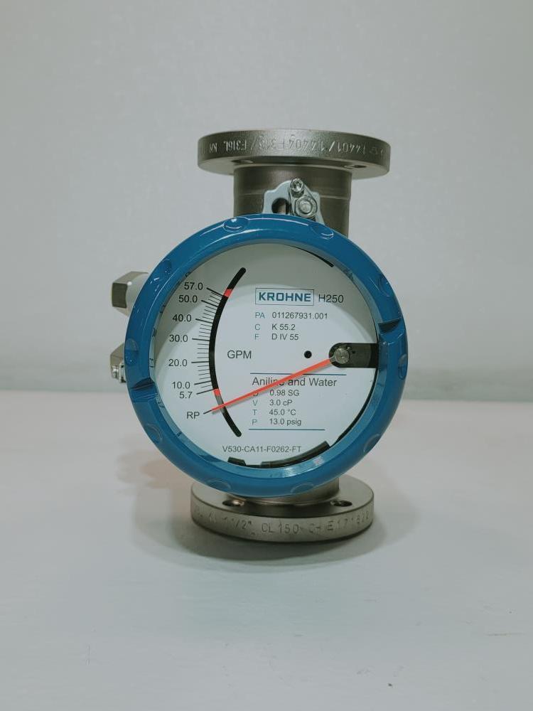 """Krohne 1 1/2"""" Stainless Steel Variable Area Flow Meter H250/RR/M40/ESK/K2-EX"""