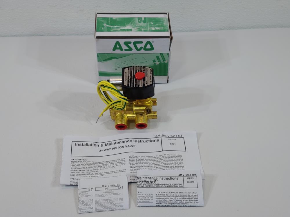 "ASCO Red-Hat 3/8"" 3-Way Piston Solenoid Valve #EFHT8321G002"