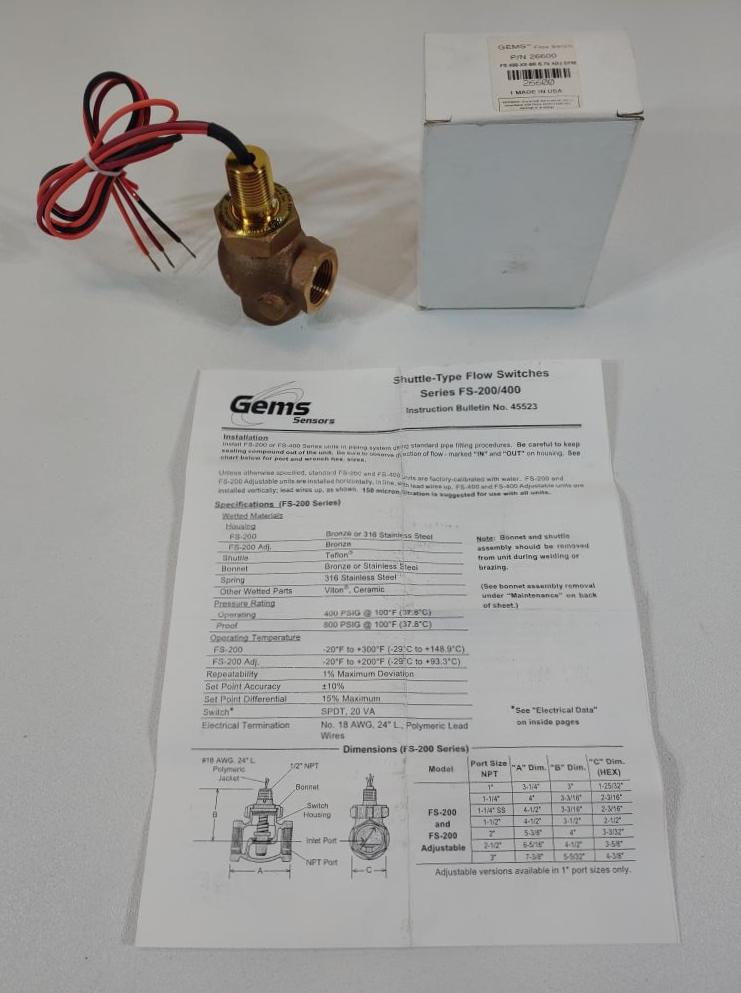 """Gems 3/4"""" FNPT Bronze Pilot Duty Flow Switch Model FS-400"""