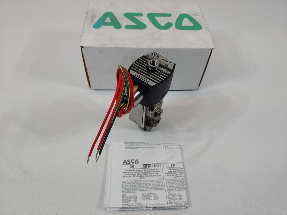 """ASCO Red-Hat 1/4"""" FNPT 3-Way Stainless Steel Solenoid Valve Cat# 8362A101H1836FO"""