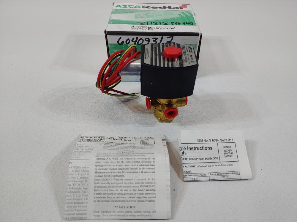 """ASCO Red-Hat 1/4"""" FNPT Brass 3-Way Solenoid Valve Cat# EF8320G184"""