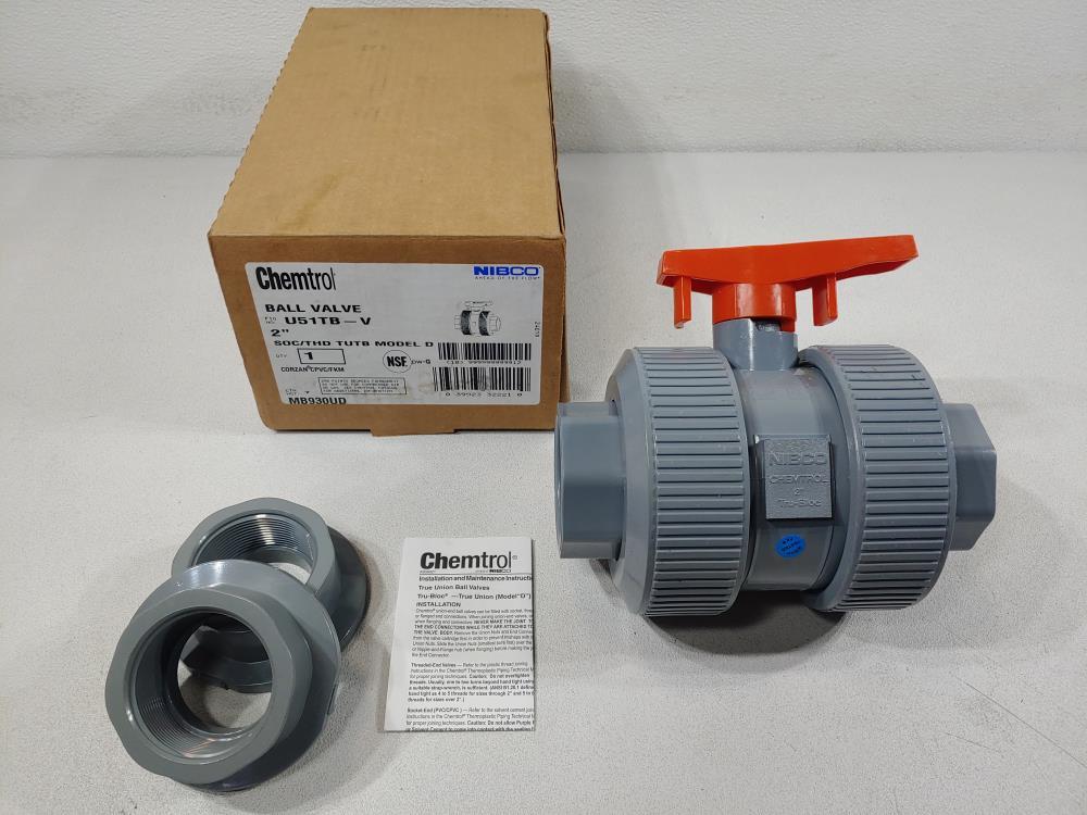 "Chemtrol Nibco 2"" Corzan CPVC/FKM Ball Valve SOC/THD TUTB Model D Fig# U51TB-V"