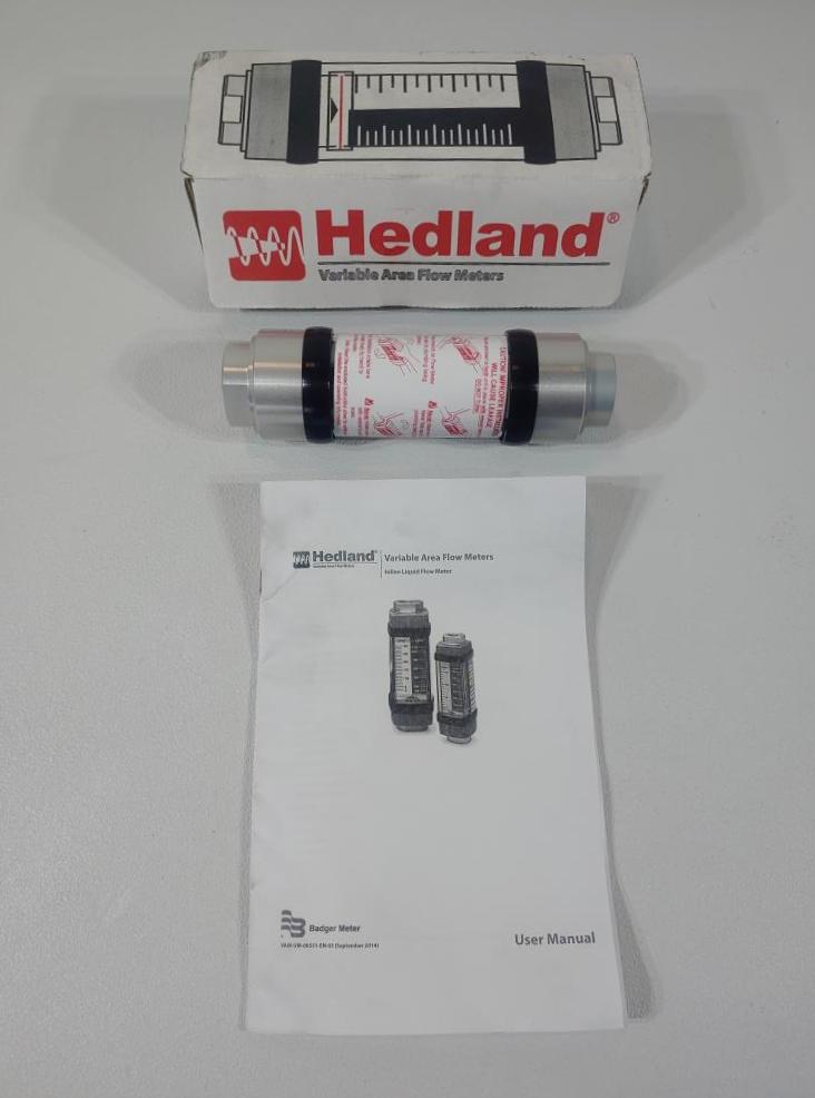 """Badger Meter Hedland Variable Area Flow Meter 1/2"""" FNPT H601A-010-HT"""