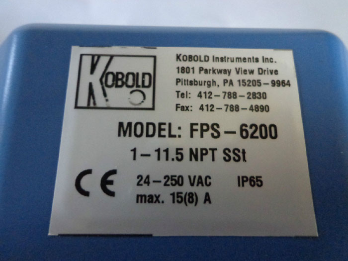 KOBOLD INSTRUMENTS PADDLE BELLOWS FLOW MONITOR FPS-6200