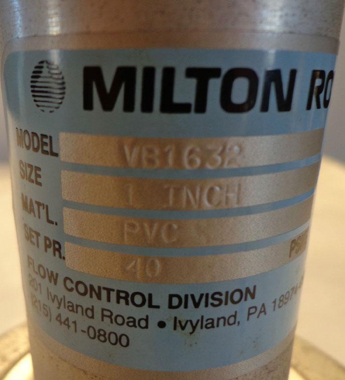MILTON ROY VB1632 FLOW CONTROL BACK PRESSURE VALVE