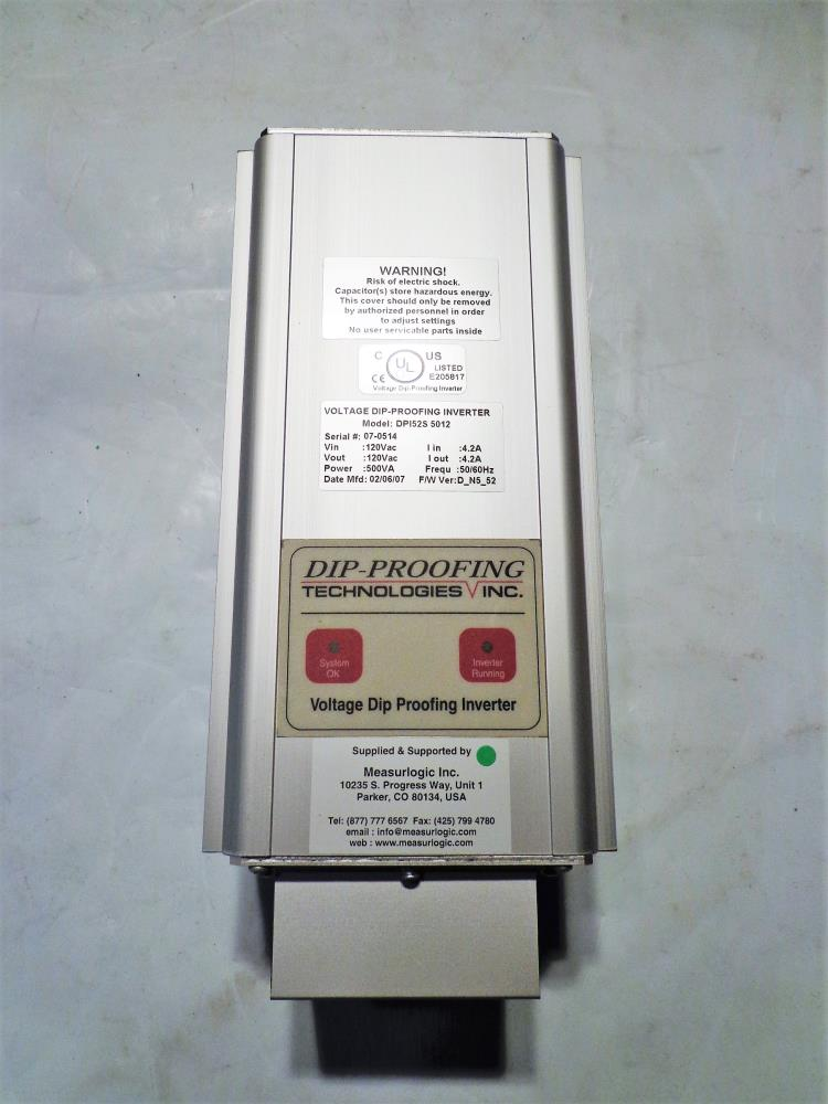 DIP PROOFING TECHNOLOGIES VOLTAGE DIP PROOFING INVERTER DP152S 5012