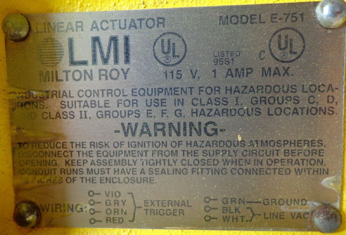 MILTON ROY LMI PUMP E711-363 TI -OR- E701-94S