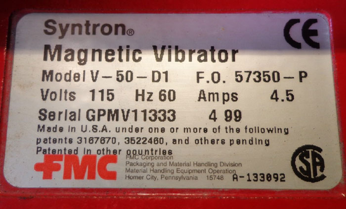 FMC SYNTRON MAGNETIC VIBRATOR V-50-D1