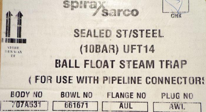 SPIRAX SARCO BALL FLOAT STEAM TRAP - UFT14-10