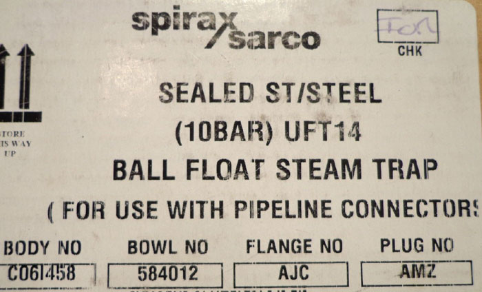 SPIRAX SARCO BALL FLOAT STEAM TRAP - UFT14-10