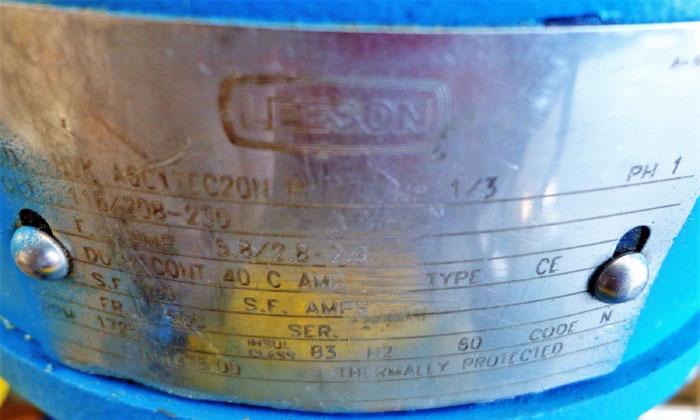 MILTON ROY MROY CONTROLLED VOLUME PUMP FR261-72 W/ LEESON MOTOR