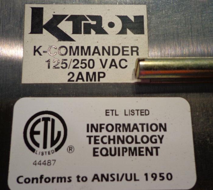 KTRON K-COMMANDER PUSH BUTTON OPERATIONAL INTERFACE PANEL
