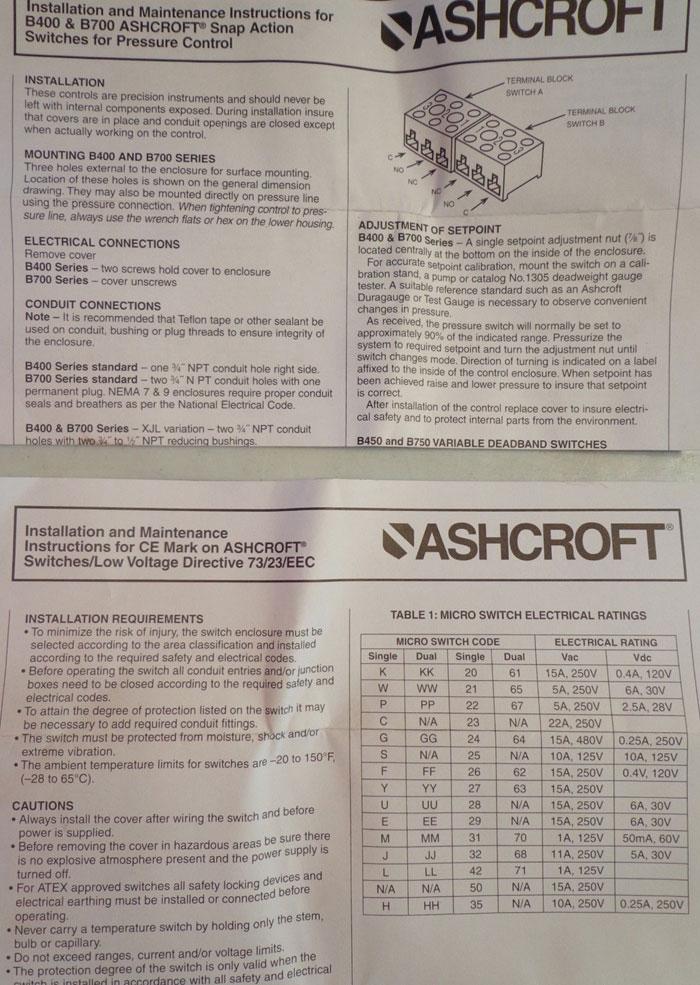 ASHCROFT B-SERIES PRESSURE SWITCH B761P X06