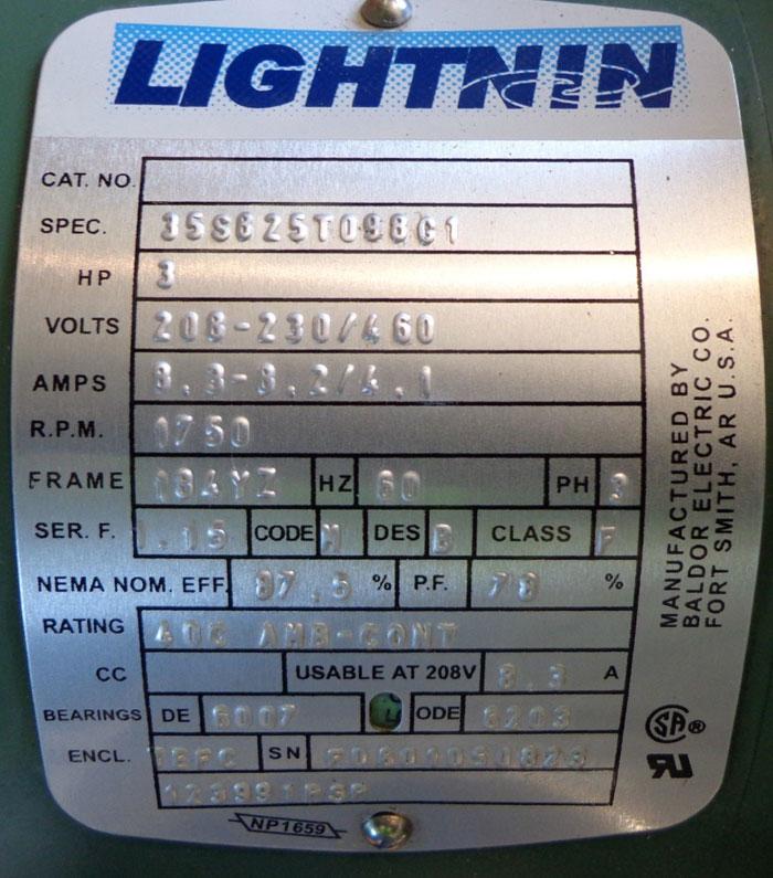LIGHTNIN MIXER MOTOR - SPEC 35S825T098G1