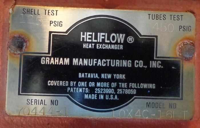 GRAHAM HELIFLOW HEAT EXCHANGER 10X4C-16LT