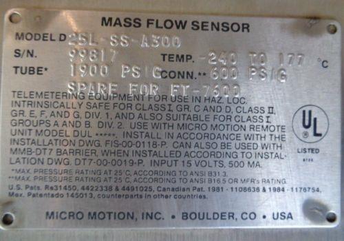 MICRO MOTION MASS FLOW SENSOR D25L-SS-A300 (L)