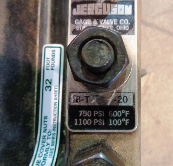 JERGUSON 3-SECTION SIGHT LEVEL GAUGE 8-T-21