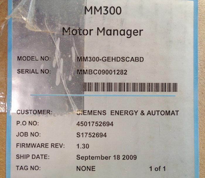 LOT OF GE MULTILIN MOTOR MANAGERS MM300-GEHDSCABD