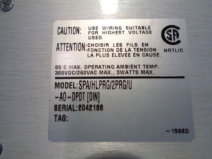 "MOORE INUDUSTRIES ""SIGHT PROGRAMMABLE ALARM"" - MODEL: SPA/HLPRG/2PRG/U-AO-DPDT"