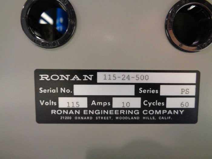 RONAN ENGINEERING COMPANY POWER SUPPLY - MODEL 115-24-500
