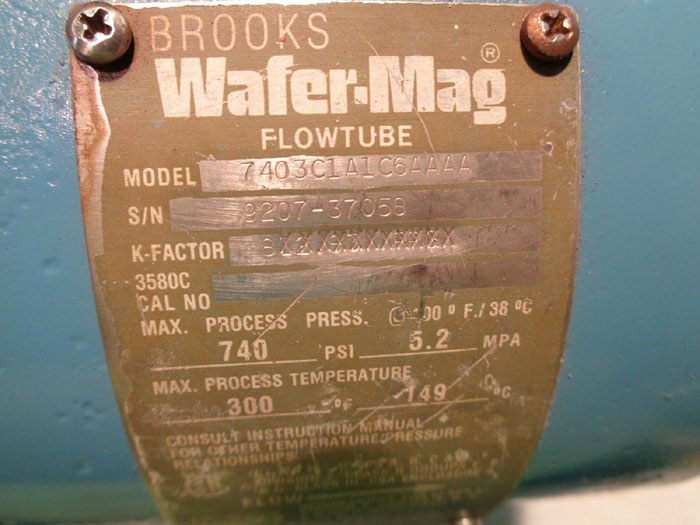 """BROOKS WAFER MAG 3"""" MAGNETIC FLOW METER 7403C1A1C6AAAA"""
